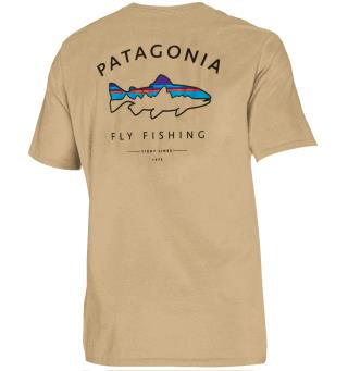 Patagonia Framed Fitz Roy Trout XS T-shirt i organisk bomull, Classic Tan