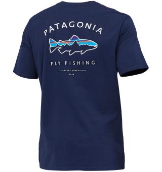 Patagonia Framed Fitz Roy Trout XS T-shirt i organisk bomull, Classic Navy